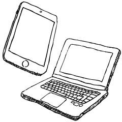 かっこいいパソコンとタブレット
